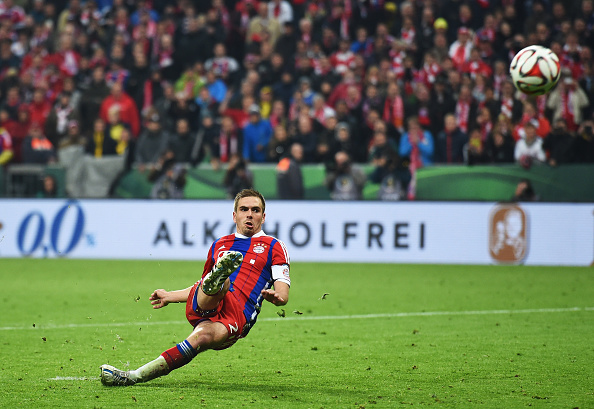 MUNICH, GERMANY - APRIL 28:  Philipp Lahm of Muenchen slips over during the penalty shoot out during the DFB Cup semi final match between FC Bayern Muenchen and Borussia Dortmund at Allianz Arena on April 28, 2015 in Munich, Germany.  (Photo by Matthias Hangst/Bongarts/Getty Images)