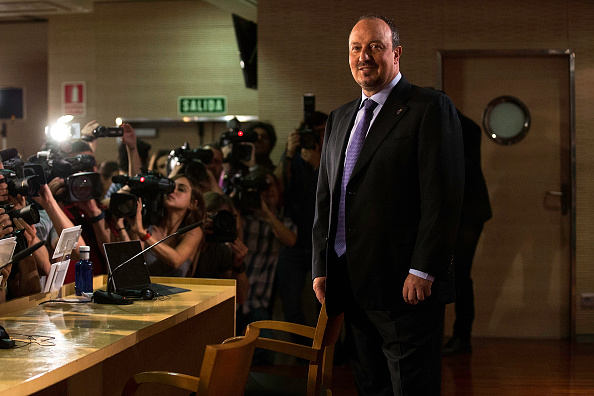 MADRID, SPAIN - JUNE 03:  New Real Madrid head coach Rafael Benitez poses for a picture at the press conference during his presentation at Santiago Bernabeu stadium on June 3, 2015 in Madrid, Spain.  (Photo by Gonzalo Arroyo Moreno/Getty Images)