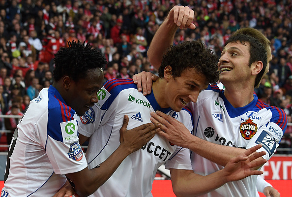 MOSCOW, RUSSIA - MAY 17: Roman Eremenko (C), Ahmed Musa and Alan Dzagoev (R) of PFC CSKA Moscow celebrate after scoring a goal during the Russian Premier League match between FC Spartak Moscow and PFC CSKA Moscow at the Arena Otkritie Stadium on May 17, 2015 in Moscow, Russia.  (Photo by Epsilon/Getty Images)