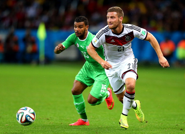 PORTO ALEGRE, BRAZIL - JUNE 30: Shkodran Mustafi of Germany controls the ball against El Arbi Hillel Soudani of Algeria during the 2014 FIFA World Cup Brazil Round of 16 match between Germany and Algeria at Estadio Beira-Rio on June 30, 2014 in Porto Alegre, Brazil.  (Photo by Martin Rose/Getty Images)