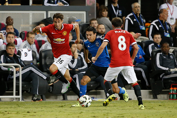 SAN JOSE, CA - JULY 21: Matteo Darmian #36 of Manchester United drives the ball during the first half of his International Champions Cup match against San Jose Earthquakes on July 21, 2015 at Avaya Stadium in San Jose, California. (Photo by Stephen Lam/Getty Images)