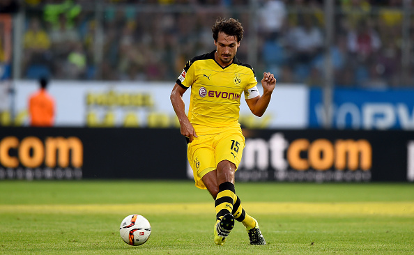 during a preseason friendly match between VfL Bochum and Borussia Dortmund at Rewirpower Stadium on July 17, 2015 in Bochum, Germany.