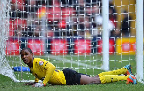 WATFORD, ENGLAND - MARCH 21:  Odion Ighalo of Watford looks dejected during the Sky Bet Championship match between Watford and Ipswich Town at Vicarage Road on March 21, 2015 in Watford, England.  (Photo by Justin Setterfield/Getty Images)