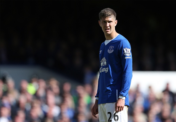 LIVERPOOL, ENGLAND - MAY 24: John Stones of Everton looks on during the Barclays Premier League match between Everton and Tottenham Hotspur at Goodison Park on May 24, 2015 in Liverpool, England. (Photo by Chris Brunskill/Getty Images)