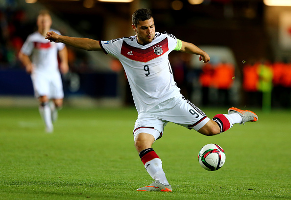 PRAGUE, CZECH REPUBLIC - JUNE 23:  Kevin Volland of Germany runs with the ball during the UEFA European Under-21 Group A match between Germany and Czech Republic at Eden Stadium on June 23, 2015 in Prague, Czech Republic.  (Photo by Martin Rose/Bongarts/Getty Images)