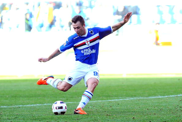 GENOA, ITALY - OCTOBER 17:  Antonio Cassano of UC Sampdoria scores his team's second goal during the Serie A match between UC Sampdoria and ACF Fiorentina at Stadio Luigi Ferraris on October 17, 2010 in Genoa, Italy.  (Photo by Massimo Cebrelli/Getty Images)