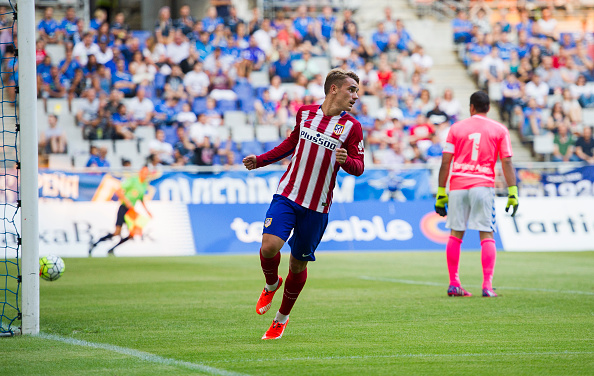 OVIEDO, SPAIN - JULY 28:  Antoine Griezmann ofÊClub Atletico de Madrid celebrates after scoring goal during a pre season friendly match between Real Oviedo and Club Atletico de Madrid at Carlos Tartiere on July 28, 2015 in Oviedo, Spain.  (Photo by Juan Manuel Serrano Arce/Getty Images)