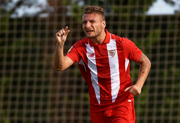 SAN PEDRO DE PINATAR, SPAIN - JULY 19: Ciro Immobile of Sevilla reacts  during a Pre Season Friendly match between Sevilla and Alcorcon at Pinatar Arena Stadium on July 19, 2015 in San Pedro de Pinatar, Spain.  (Photo by Manuel Queimadelos Alonso/Getty Images)