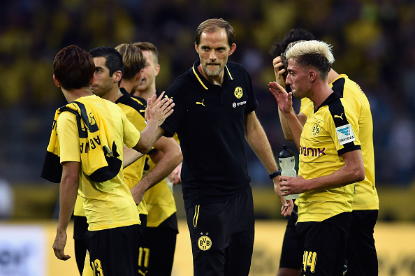 +++ during the Bundesliga match between Borussia Dortmund and Borussia Moenchengladbach at Signal Iduna Park on August 15, 2015 in Dortmund, Germany.