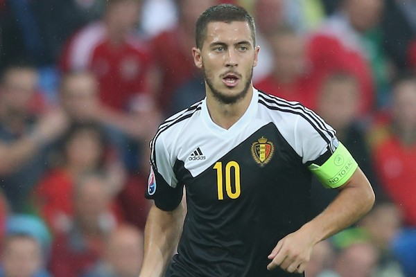 CARDIFF, WALES - JUNE 12:  Eden Hazard of Belgium runs with the ball during the UEFA EURO 2016 qualifying match between Wales and Belgium at the Cardiff City Stadium on June 12, 2015 in Cardiff, United Kingdom.  (Photo by David Rogers/Getty Images)