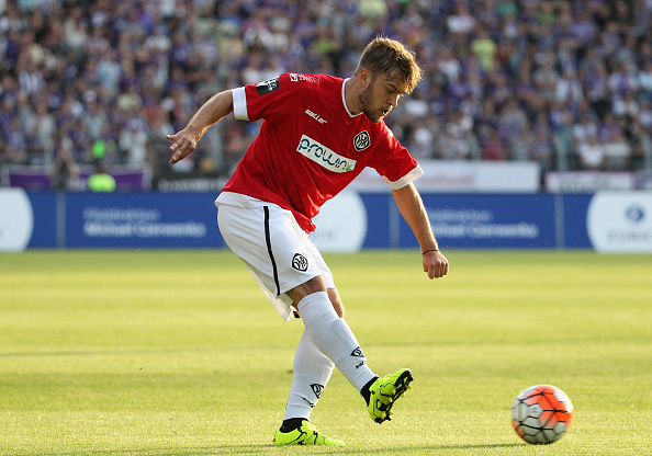 AUE, GERMANY - AUGUST 26:  Mika Ojala of Aalen during the Third League match between FC Erzgebirge Aue and VFR Aalen at Sparkassen-Erzgebirgsstadion on August 26, 2015 in Aue, Germany.  (Photo by Karina Hessland/Bongarts/Getty Images)