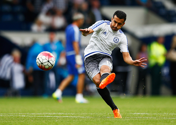 WEST BROMWICH, ENGLAND - AUGUST 23:  Pedro of Chelsea warms up prior to the Barclays Premier League match between West Bromwich Albion and Chelsea at The Hawthorns on August 23, 2015 in West Bromwich, England.  (Photo by Julian Finney/Getty Images)