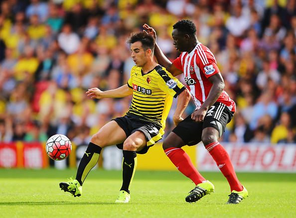 during the Barclays Premier League match between Watford and Southampton at Vicarage Road on August 23, 2015 in Watford, England.