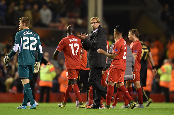 during the UEFA Europa League Group B match between Liverpool FC and Rubin Kazan at Anfield on October 22, 2015 in Liverpool, United Kingdom.