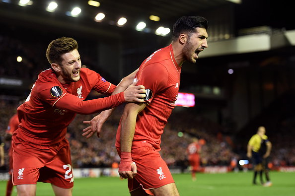 LIVERPOOL, ENGLAND - OCTOBER 22:  Emre Can (R) of Liverpool is congratulated by teammate Adam Lallana of Liverpool after scoring a goal to level the scores at 1-1 during the UEFA Europa League Group B match between Liverpool FC and Rubin Kazan at Anfield on October 22, 2015 in Liverpool, United Kingdom.  (Photo by Michael Regan/Getty Images)