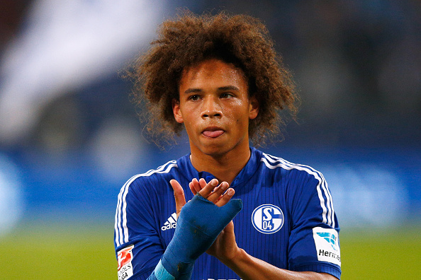 GELSENKIRCHEN, GERMANY - SEPTEMBER 23:  Leroy Sane of Schalke celebrates after victory in the Bundesliga match between FC Schalke 04 and Eintracht Frankfurt held at Veltins-Arena on September 23, 2015 in Gelsenkirchen, Germany.  (Photo by Dean Mouhtaropoulos/Bongarts/Getty Images)