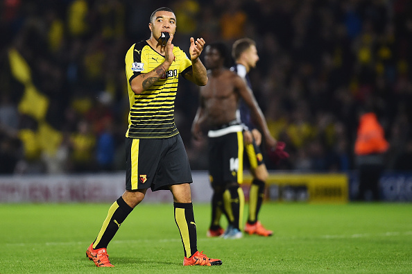 WATFORD, ENGLAND - OCTOBER 31: Troy Deeney of Watford celebrates his team's 2-0 win in the Barclays Premier League match between Watford and West Ham United at Vicarage Road on October 31, 2015 in Watford, England.  (Photo by Justin Setterfield/Getty Images)