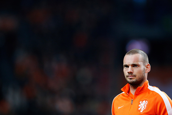 AMSTERDAM, NETHERLANDS - NOVEMBER 12:  Wesley Sneijder of Netherlands stands for the national anthems prior to the international friendly match between Netherlands and Mexico held at the Amsterdam ArenA on November 12, 2014 in Amsterdam, Netherlands.  (Photo by Dean Mouhtaropoulos/Getty Images)