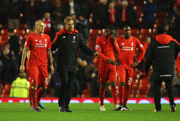 LIVERPOOL, ENGLAND - DECEMBER 13:  Jurgen Klopp, manager of Liverpool and Martin Skrtel of Liverpool in discussion after the Barclays Premier League match between Liverpool and West Bromwich Albion at Anfield on December 13, 2015 in Liverpool, England.  (Photo by Alex Livesey/Getty Images)