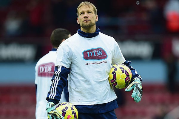 LONDON, ENGLAND - FEBRUARY 28:  Jussi Jaaskelainen of West Ham United warms up prior to the Barclays Premier League match between West Ham United and Crystal Palace at Boleyn Ground on February 28, 2015 in London, England. Players wear t-shirts in support of the DT38 Foundation. The foundation was set up in memory of West Ham United Academy player Dylan Tombides.  (Photo by Jamie McDonald/Getty Images)