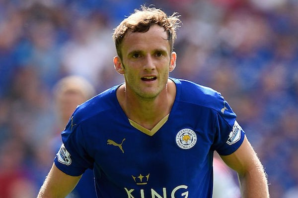 LEICESTER, ENGLAND - AUGUST 08:  Andy King of Leicester City in action during the Barclays Premier League match between Leicester City and Sunderland at the King Power Stadium on August 8, 2015 in Leicester, England.  (Photo by Ross Kinnaird/Getty Images)