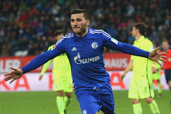 AUGSBURG, GERMANY - DECEMBER 13:  Sead Kolasinac of Schalke celebrates scoring the first team goal during the Bundesliga match between FC Augsburg and  FC Schalke 04 at WWK Arena on December 13, 2015 in Augsburg, Germany.  (Photo by Alexander Hassenstein/Bongarts/Getty Images)