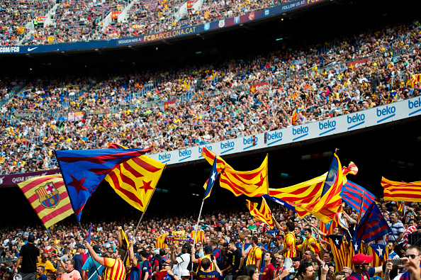 BARCELONA, SPAIN - SEPTEMBER 26:  Supporters wave pro-independence of Catalonia flags during the La Liga match between FC Barcelona and UD Las Palmas at Camp Nou on September 26, 2015 in Barcelona, Spain.  (Photo by Alex Caparros/Getty Images)