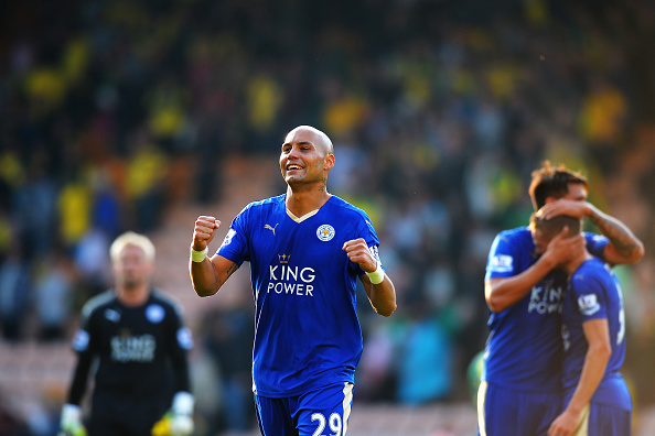NORWICH, ENGLAND - OCTOBER 03:  Yohan Benalouane of Leicester City celebrates his team's 2-1 win in the Barclays Premier League match between Norwich City and Leicester City at Carrow Road on October 3, 2015 in Norwich, United Kingdom.  (Photo by Tony Marshall/Getty Images)