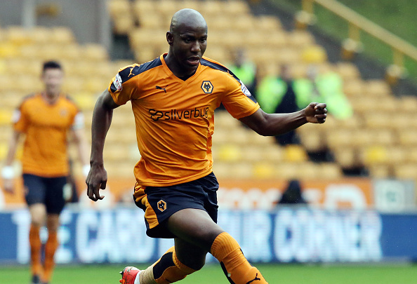 WOLVERHAMPTON, ENGLAND - OCTOBER 24: Benik Afobe of Wolverhampton Wanderers in action during the Sky Bet Championship match between Wolverhampton Wanderers and Middlesborough at Molineux Stadium on October 24, 2015 in Wolverhampton, England.  (Photo by David Jones/Getty Images)