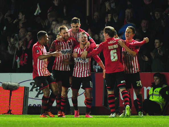 during the Emirates FA Cup third round match between Exeter City and Liverpool at St James Park on January 8, 2016 in Exeter, England.