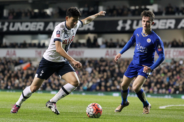 LONDON, ENGLAND - JANUARY 10: Heung-Min Son of Tottenham Hotspur and Ben Chilwell of Leicester City in action during the Emirates FA Cup Third Round match between Tottenham Hotspur and Leicester City at White Hart Lane on January 10, 2016 in London, England.  (Photo by Harry Hubbard/Getty Images)