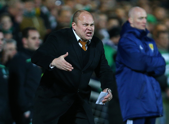 DUNDEE, SCOTLAND - JANUARY 15 : Dundee United manager Mixu Paatelainen gestures from the sideline during the Ladbrokes Scottish Premiership match between Celtic FC and Dundee United FC at Tannadice Park on January 15, 2016 in Dundee, Scotland. (Photo by Mark Runnacles/Getty Images)