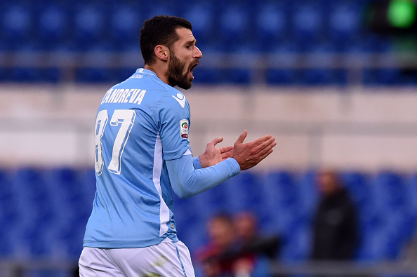 ROME, ITALY - NOVEMBER 22:  Antonio Candreva of Lazio celebrates after scoring the equalizing goal during the Serie A match between SS Lazio and US Citta di Palermo at Stadio Olimpico on November 22, 2015 in Rome, Italy.  (Photo by Tullio M. Puglia/Getty Images)