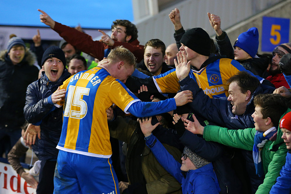 during the Emirates FA Cup Fourth Round match between Shrewsbury Town and Sheffield Wednesday at Greenhous Meadow on January 30, 2016 in Shrewsbury, England.
