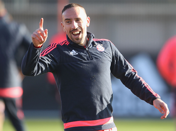 MUNICH, GERMANY - DECEMBER 08:  Franck Ribery of FC Bayern Muenchen laughs during a training session at the Saebener Strasse training ground on December 8, 2015 in Munich, Germany.  (Photo by Alexandra Beier/Bongarts/Getty Images)