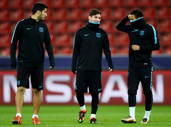 during a FC Barcelona training session on the eve of the UEFA Champions League groupe E match against Bayer Leverkusen at BayArena on December 8, 2015 in Leverkusen, Germany.