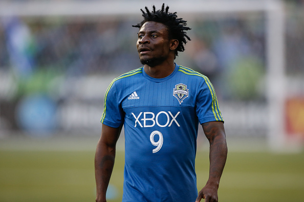 SEATTLE, WA - MARCH 08:  Obafemi Martins #9 of the Seattle Sounders FC warms up prior to the match against the New England Revolution at CenturyLink Field on March 8, 2015 in Seattle, Washington.  (Photo by Otto Greule Jr/Getty Images) *** Local Caption *** Obafemi Martins