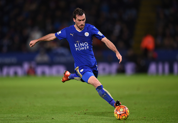 LEICESTER, ENGLAND - NOVEMBER 28: Christian Fuchs of Leicester City in action during the Barclays Premier League match between Leicester City and Manchester United at The King Power Stadium on November 28, 2015 in Leicester, England.  (Photo by Michael Regan/Getty Images)