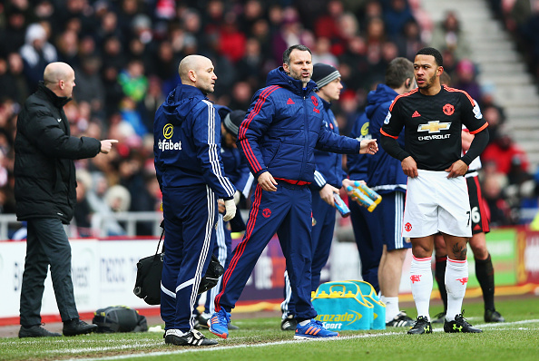 during the Barclays Premier League match between Sunderland and Manchester United at the Stadium of Light on February 13, 2016 in Sunderland, England.