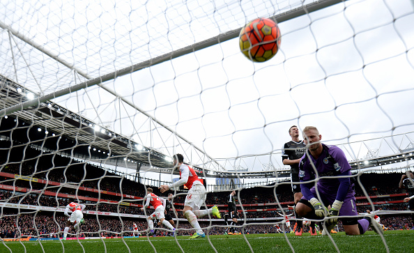 during the Barclays Premier League match between Arsenal and Leicester City at the Emirates Stadium February 14, 2016 in London, England.