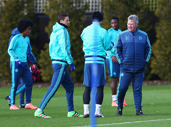 during a Chelsea training session ahead of their UEFA Champions League round of 16 match against Paris Saint-Germain at Chelsea Training Ground on February 15, 2016 in Cobham, England.