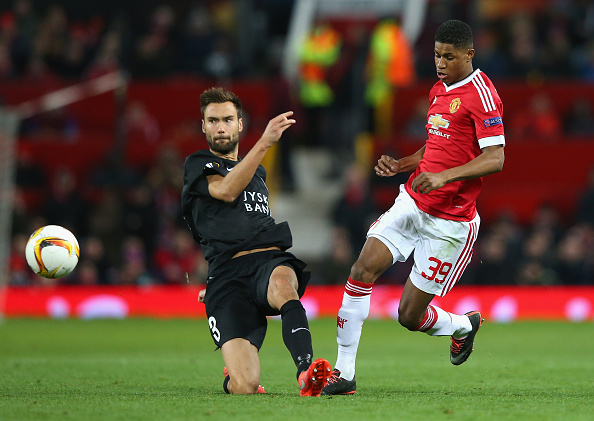 during the UEFA Europa League Round of 32 second leg match between Manchester United and FC Midtjylland at Old Trafford on February 25, 2016 in Manchester, United Kingdom.