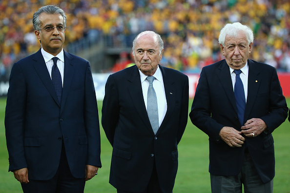 SYDNEY, AUSTRALIA - JANUARY 31:   AFC President Shaikh Salman bin Ebrahim Al Khalifa, Joseph S. Blatter, President of FIFA and Frank Lowy, Chairman of FFA look on during the anthems ahead of the 2015 Asian Cup final match between Korea Republic and the Australian Socceroos at ANZ Stadium on January 31, 2015 in Sydney, Australia.  (Photo by Mark Kolbe/Getty Images)