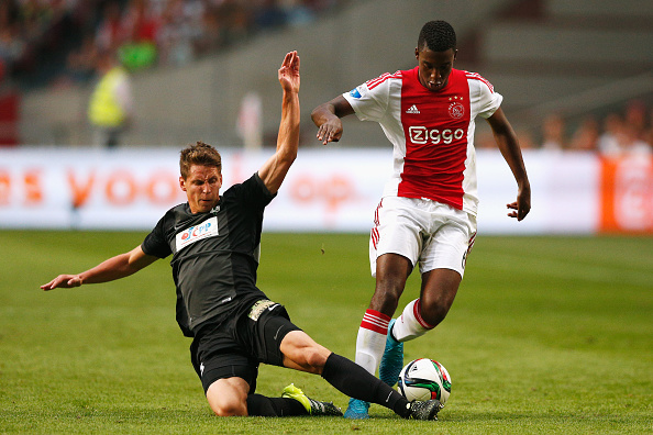 during the UEFA Europa League play off round 1st leg match between Ajax Amsterdam and FK Baumit Jablonec on August 20, 2015 in Amsterdam, Netherlands.