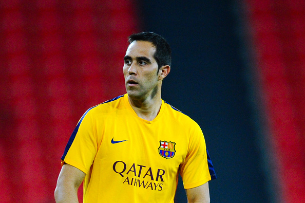 BILBAO, SPAIN - AUGUST 14:  Claudio Bravo of FC Barcelona looks on  during the warm up prior to the Spanish Super Cup first leg match between FC Barcelona and Athletic Club at San Mames Stadium on August 14, 2015 in Bilbao, Spain.  (Photo by David Ramos/Getty Images)