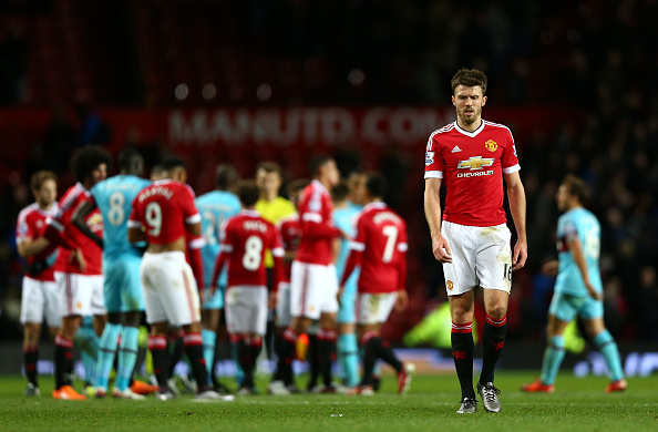 during the Barclays Premier League match between Manchester United and West Ham United at Old Trafford on December 5, 2015 in Manchester, England.