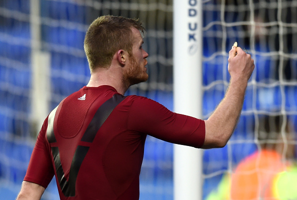 READING, ENGLAND - FEBRUARY 20:  Chris Brunt of West Bromwich Albion reacts after being hit by an object during the Emirates FA Cup fifth round match between Reading and West Bromwich Albion at the Madejski Stadium on February 20, 2016 in Reading, England.  (Photo by Michael Regan/Getty Images)