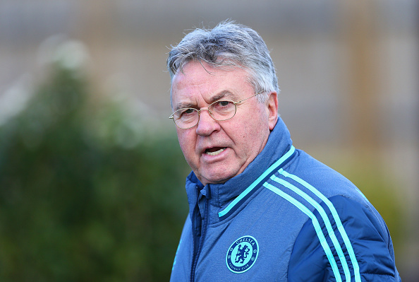 COBHAM, ENGLAND - FEBRUARY 15:  Guus Hiddink manager of Chelsea looks on during a Chelsea training session ahead of their UEFA Champions League round of 16 match against Paris Saint-Germain at Chelsea Training Ground on February 15, 2016 in Cobham, England.  (Photo by Harry Engels/Getty Images)
