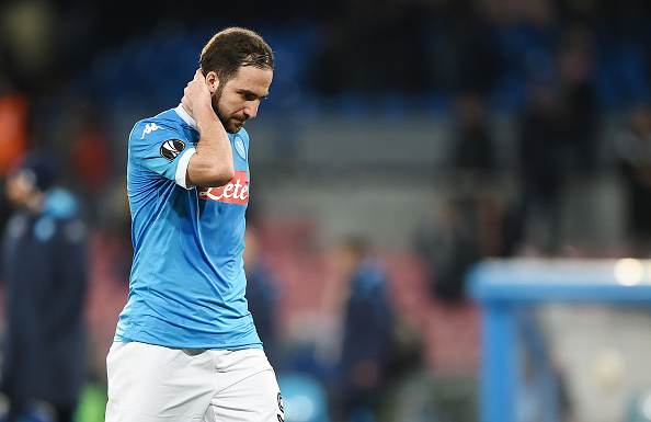 NAPLES, ITALY - FEBRUARY 25:  Napoli's player Gonzalo Higuain stands disappointed the UEFA Europa League Round of 32 second leg match between SSC Napoli and Villarreal FC on February 25, 2016 in Naples, Italy.  (Photo by Francesco Pecoraro/Getty Images)