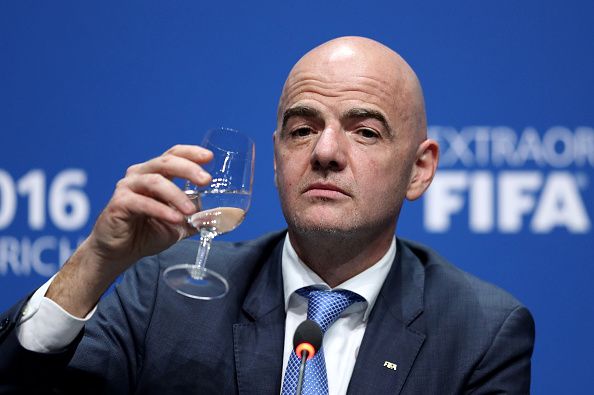 ZURICH, SWITZERLAND - FEBRUARY 26:  The new FIFA President Gianni Infantino drinks a glass of water during a press conference after the Extraordinary FIFA Congress at Hallenstadion on February 26, 2016 in Zurich, Switzerland.  (Photo by Richard Heathcote/Getty Images)